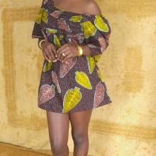 Mini-vestido hojas marrón