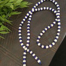 Collar abalorios Turkana blanco-azul
