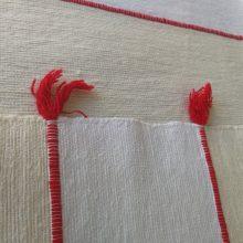 Colcha artesanal Bereber crudo-rojo