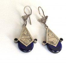 Pendientes plata tuareg lagrima azul